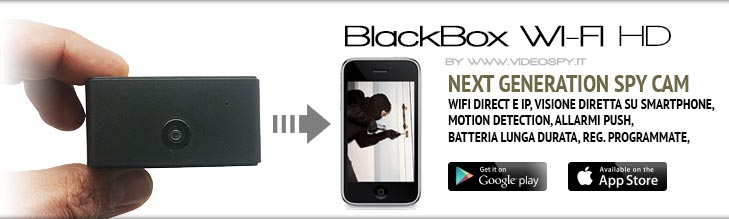 BlackBox WIFI HD. Mini telecamera DVR e IP con WIFI integrato per visione via smartphone