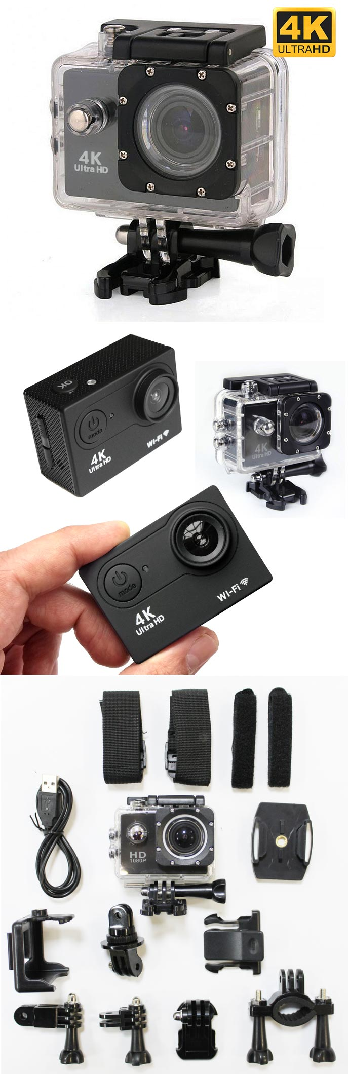 action sport camera ultra-hd 4k impermeabile