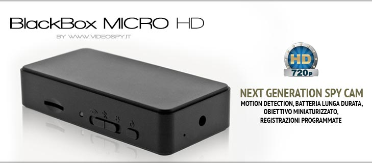 BlackBox MICRO HD. Mini telecamera con batteria lunga durata