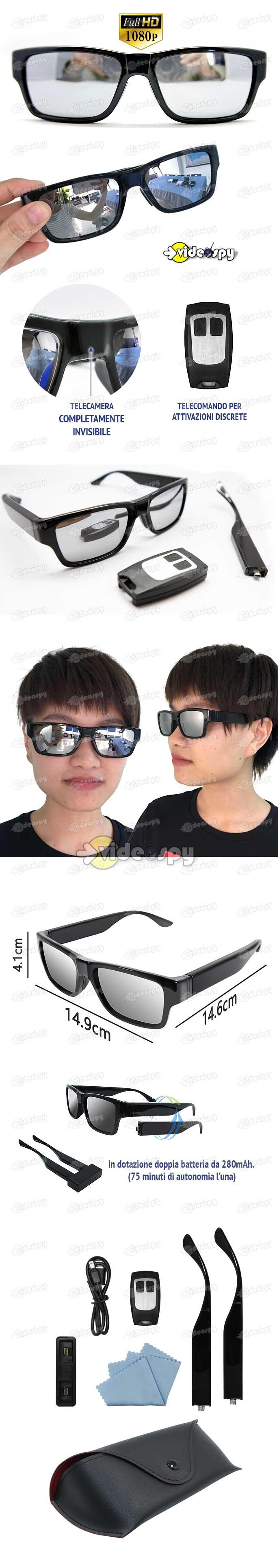 Da Occhiali Batteria E Sole Telecamera Con Spia InvisibileDoppia hQrtdCxs